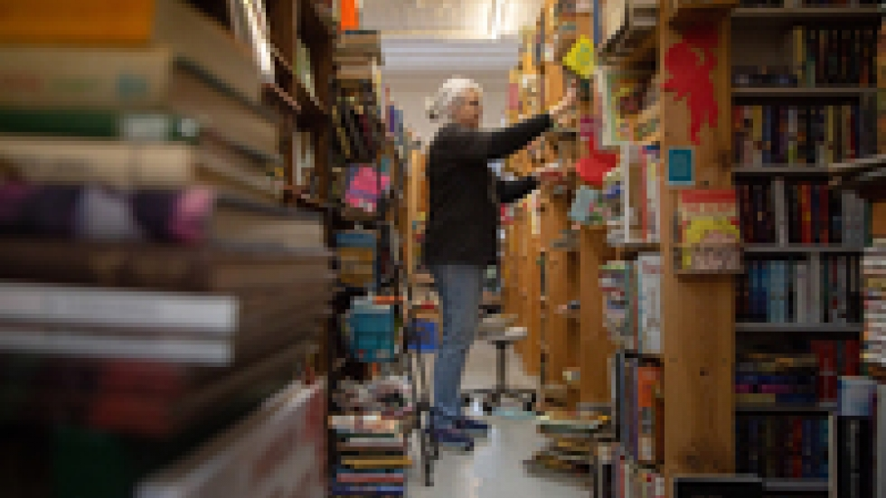 Roxine Poznich, owner of Books & Grannies in Fort Scott, Kan., was a 27-year employee of Mercy Hospital in Fort Scott. She lost her job when the hospital closed and now manages her bookstore full time.