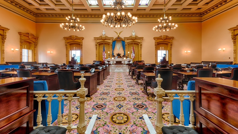 Inside the Senate chambers at the Ohio Statehouse