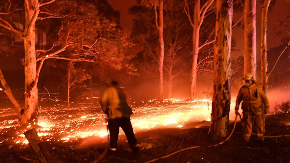Firefighters hose down trees on Tuesday as they battle bush fires around the town of Nowra in the Australian state of New South Wales.