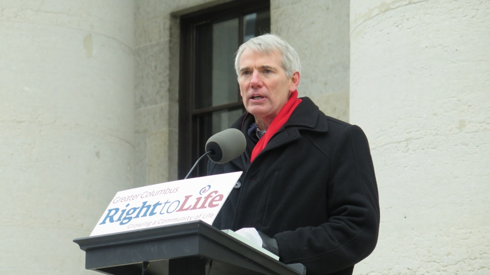 U.S. Sen. Rob Portman (R-OH) spoke at an Ohio Right to Life rally at the Statehouse in January 2016.