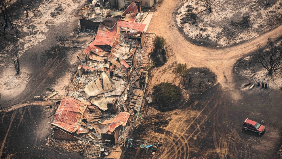 Property damaged by the East Gippsland fires in Sarsfield, Victoria, on New Year's Day.