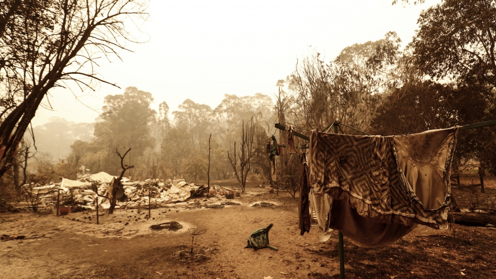 A view of fire damage on Friday in Sarsfield, east of Melbourne. Thousands of people have been stranded in the remote coastal town following fires across East Gippsland.