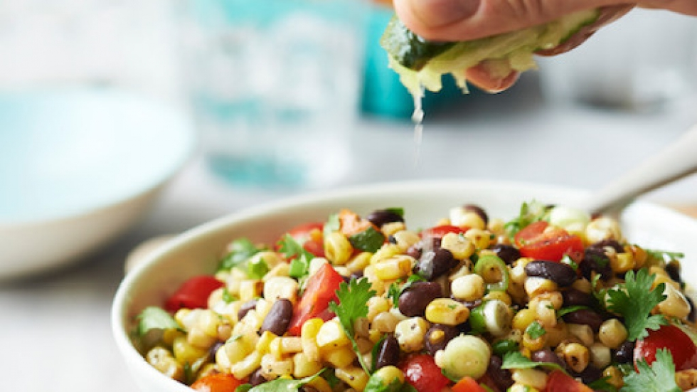 Freitag says her corn salad — from her book, <em>The Chef Next Door — </em>is a simple dish prepared with mostly pantry items.