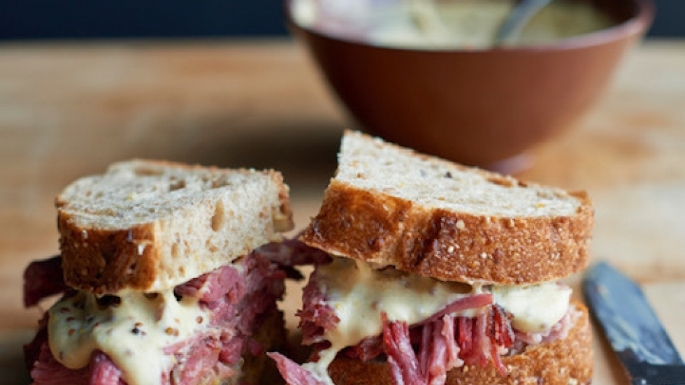 Chef Amanda Freitag's mustard sauce — shown here on a corned beef sandwich.
