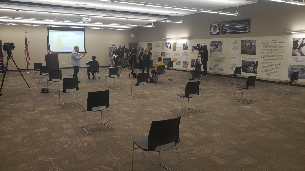 Summit County Public Health demonstrated social distancing at a press briefing held when the COVID-19 pandemic first began.