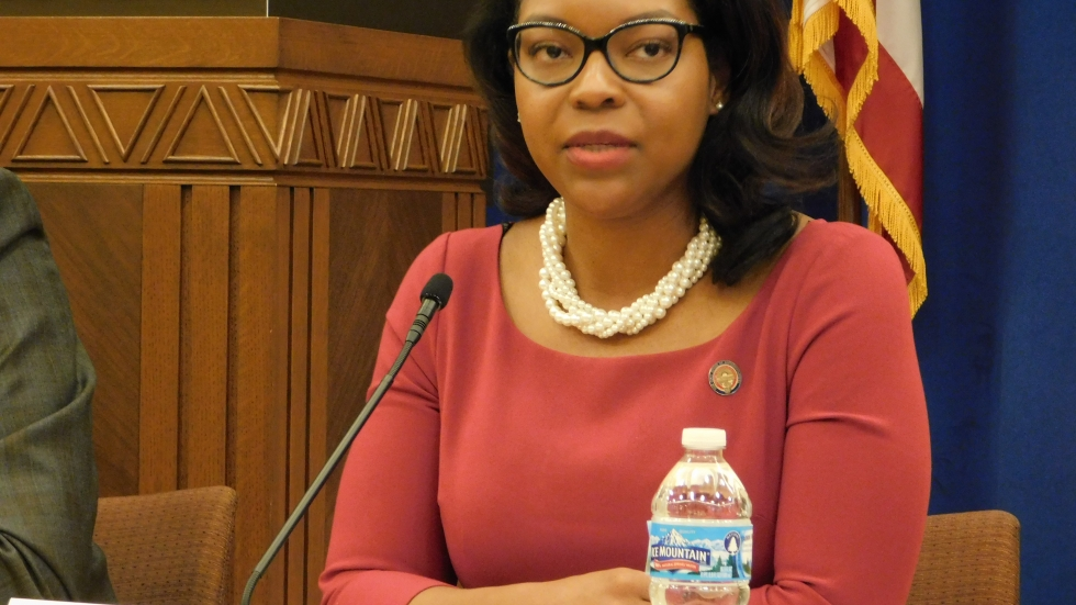 State Rep. Emilia Sykes (D-OH 34 district) of Akron serves as the minority leader in the Ohio House of Representatives.