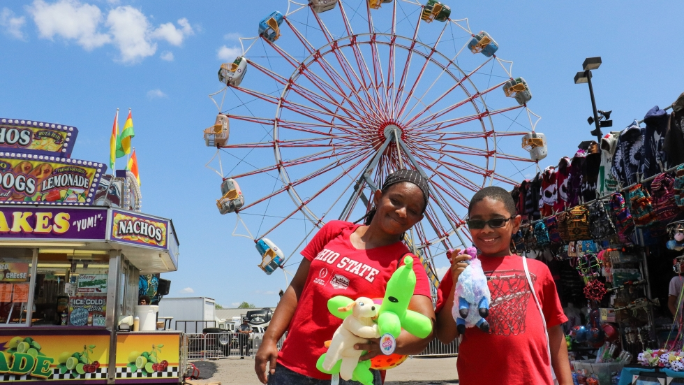 Shemika Briscoe and her 9-year-old son Trashawn at the Ohio State Fair in 2019.