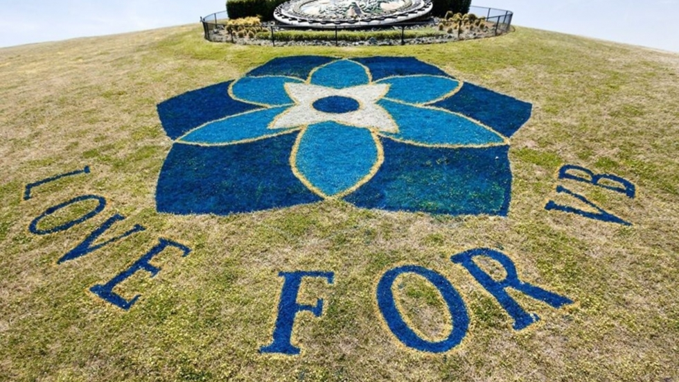 Virginia Beach painted a forget-me-not design at a city park in honor of victims of the 2019 mass shooting.