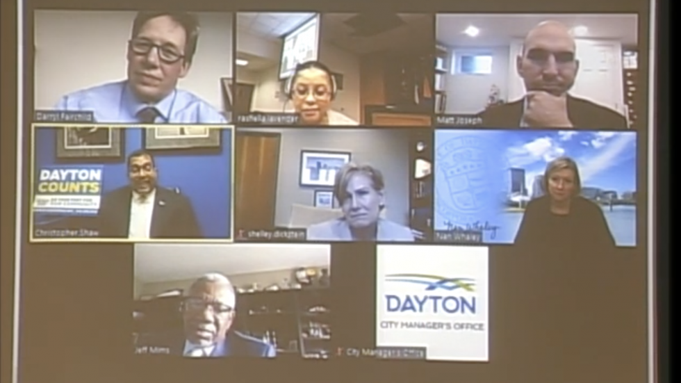 A screenshot of the July 1, 2020 Dayton City Commission meeting that was held via videoconference.
