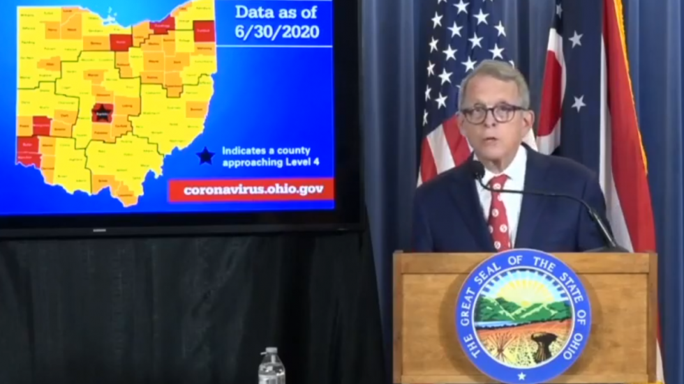 The Ohio Public Health Advisory Alert System ranks counties' case rates at four levels of severity using seven indicators of community COVID-19 spread.