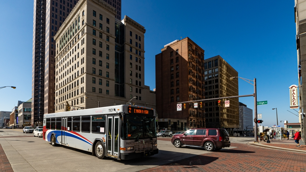 A COTA bus in downtown Columbus in May.