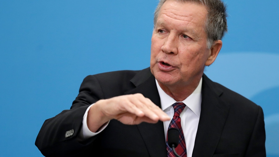 Ohio Gov. John Kasich speaking at The City Club of Cleveland, in Cleveland on Dec. 4, 2018.