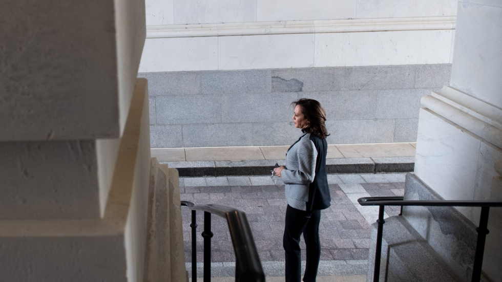 Sen. Kamala Harris at the U.S. Capitol after a vote in March.