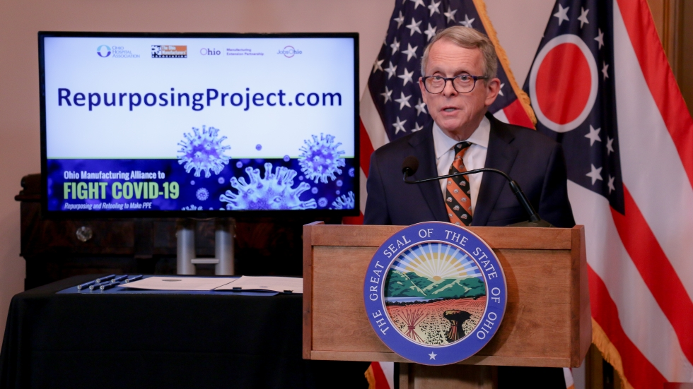 Gov. Mike DeWine at a daily coronavirus briefing in April.
