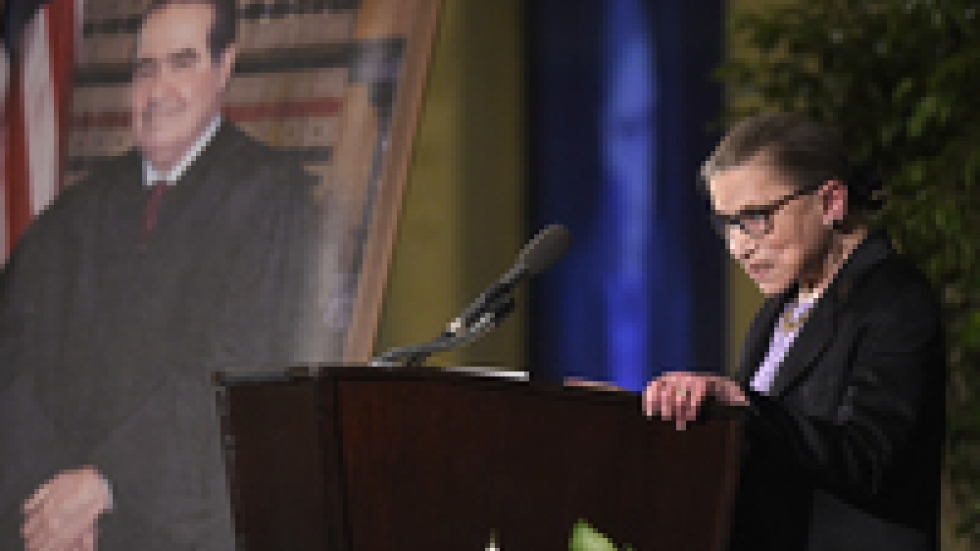 Ginsburg speaks at the memorial service for Antonin Scalia, fellow Supreme Court justice and friend, at the Mayflower Hotel in Washington in March 2016.