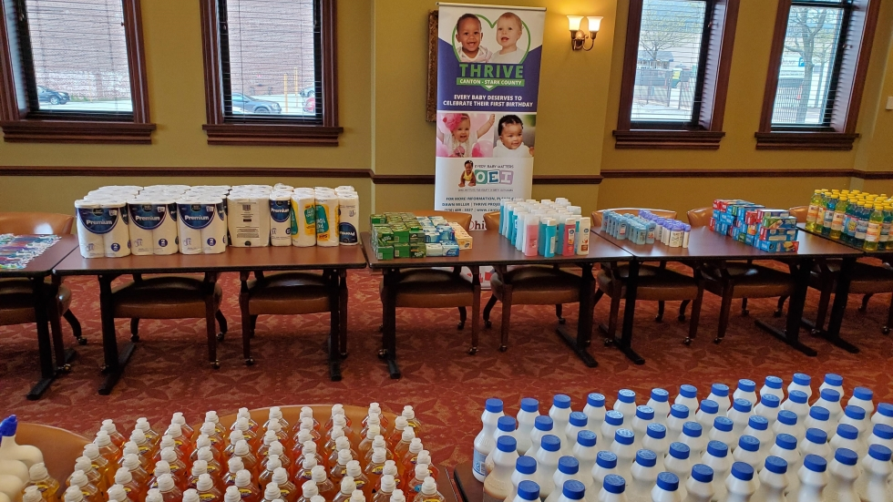 Stark County THRIVE supplied 300 families with cleaning and personal care supplies.