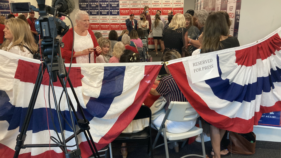 Few people wore masks at this Women for Trump event in Columbus recently