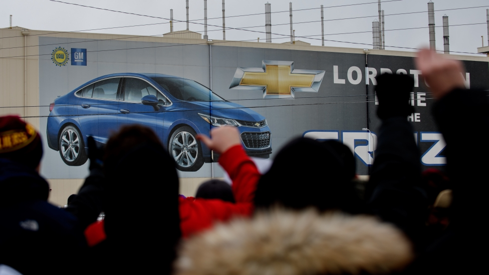 Workers rally outside General Motors' plant in Lordstown, Ohio, on March 6, 2019 — the day the sprawling facility was idled after more than 50 years of producing vehicles.