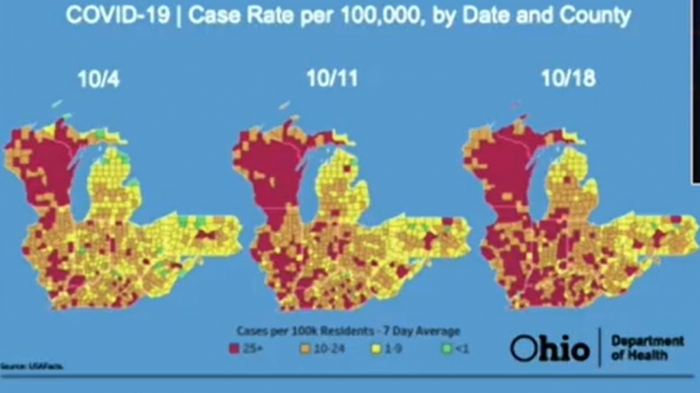 These maps show how widely the coronavirus has spread through the midwest over the past three weeks,