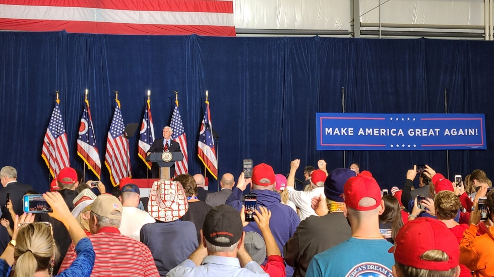 Vice President Mike Pence campaigns in Cincinnati at Lunken Airport on Oct. 21, 2020.
