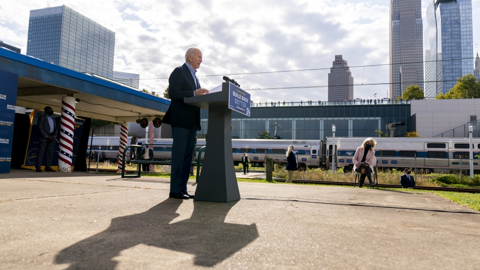 Biden, accompanied by his wife Jill Biden, right, speaks at Amtrak's Cleveland Lakefront train station, Sept. 30, ahead of a train tour through Ohio and Pennsylvania.