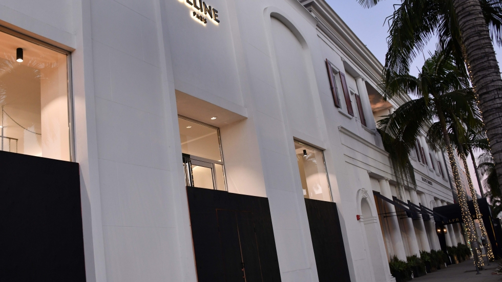 The Celine store stands boarded up in Beverly Hills on Nov. 1, 2020.