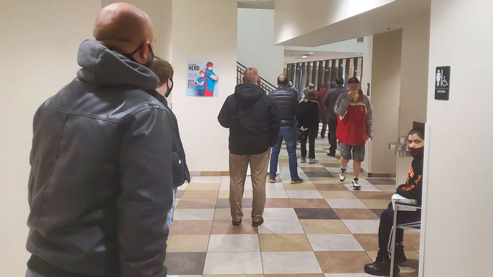 Voters lineup to cast a vote at the  Dublin Community Recreation Center on November 3, 2020.