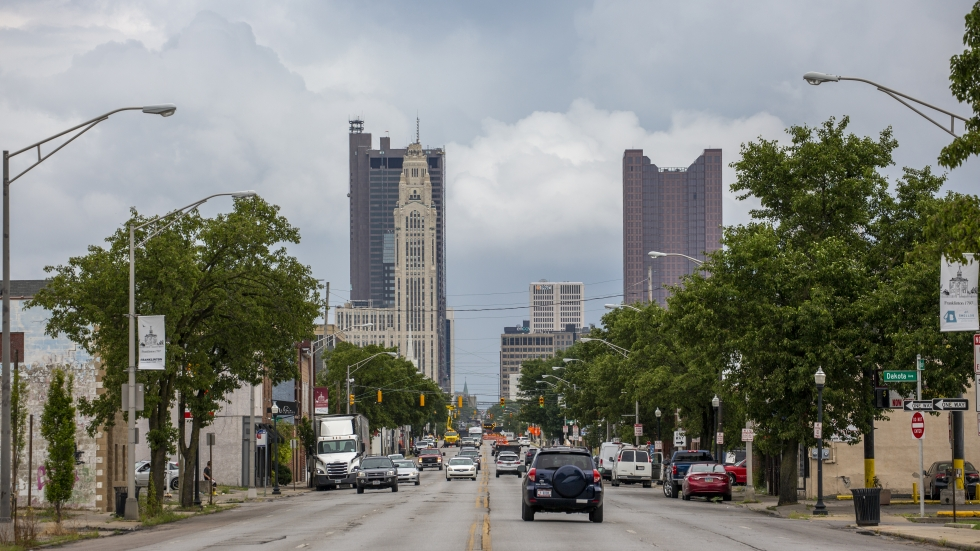 A view of the downtown Columbus skyline from Franklinton.
