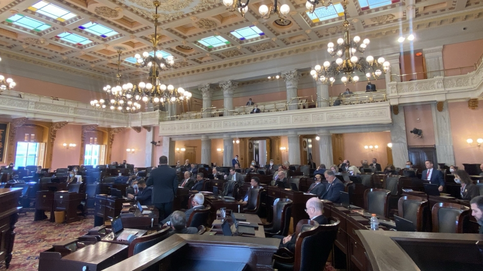 The House in session last month, after they voted not to require members to wear masks on the floor.