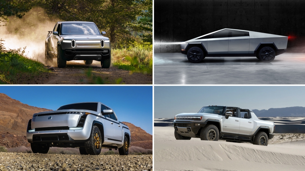 Automakers are racing to be the first to bring an electric pickup to market — including, clockwise from top left, Rivian's sporty offering, Tesla's futuristic Cybertruck, General Motors' Hummer EV and Lordstown's work-focused Endurance.