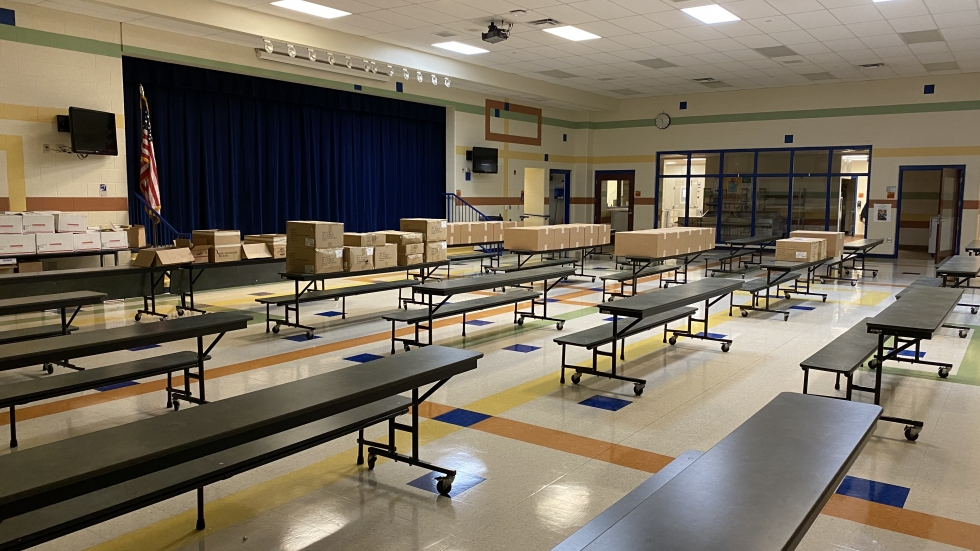 An empty cafetaria at Findley Elementary School in Akron