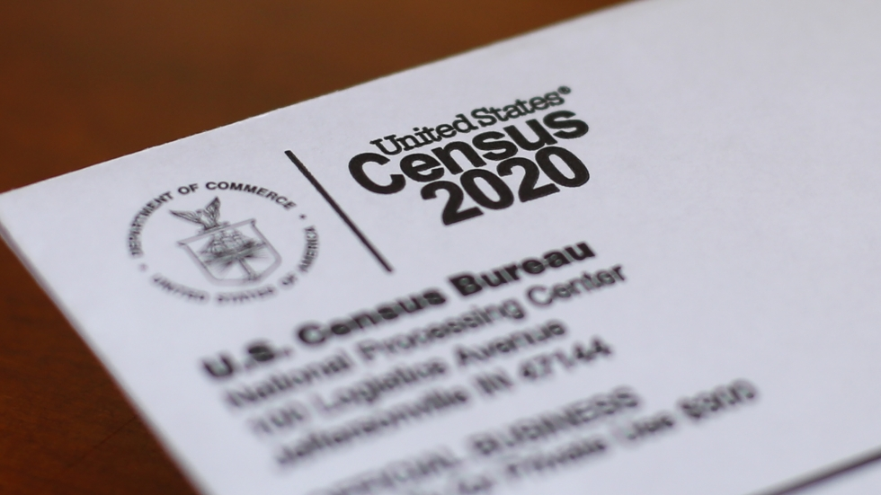 This April 5, 2020, file photo shows an envelope containing a 2020 census letter mailed to a U.S. resident in Detroit.