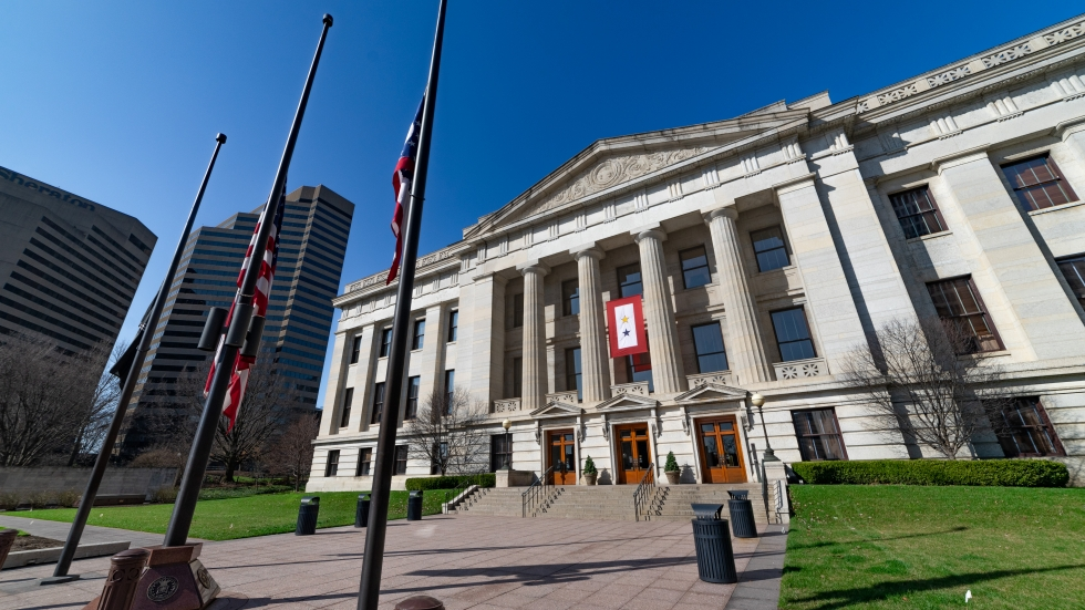 The Ohio Statehouse in downtown Columbus on March 26, 2020.