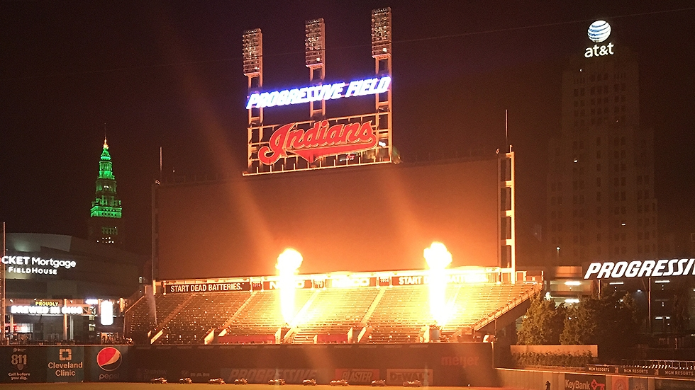 Progressive Field, home of the Cleveland Indians, baseball team, illuminated with pyrotechnics for a post-game concert and fireworks show in July 2019.