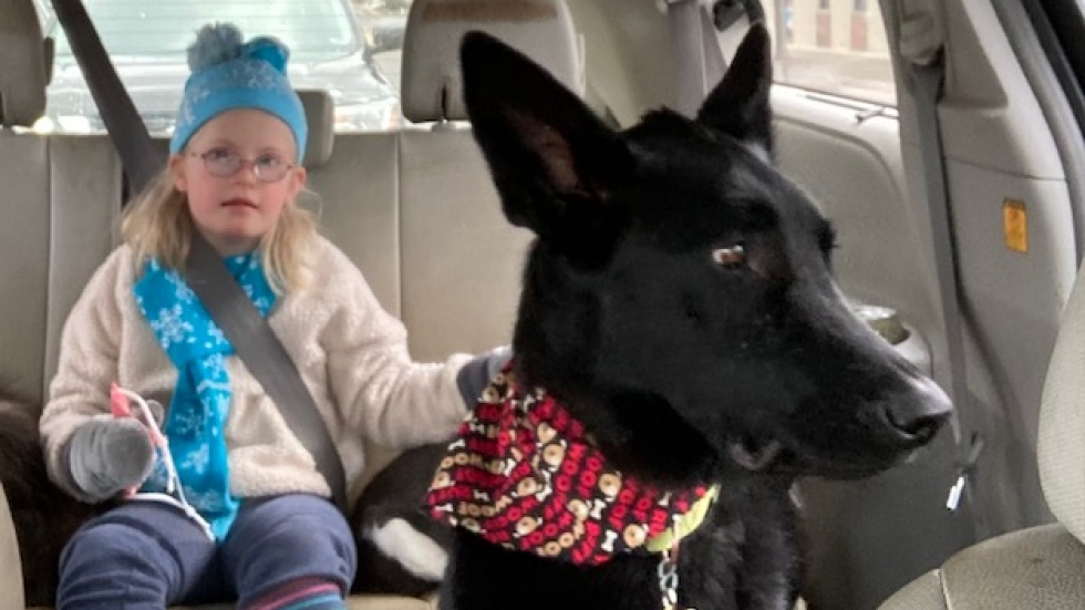 Eight-year-old Lyra Christensen rides in the back of the car with her dog. Lyra loves playing the harmonica after school, which often makes her dog howl.