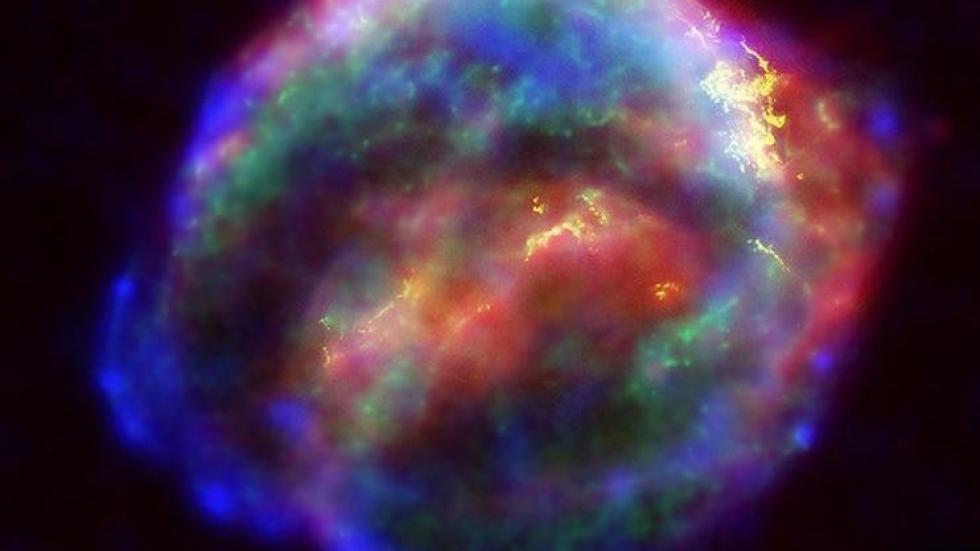 Scientists believe some heavy elements are forged when a massive star goes through its death throes and explodes as a supernova. Here, the supernova Cassiopeia A was captured in a false-color image from NASA.