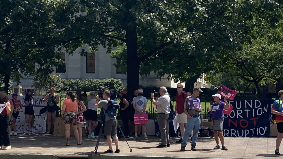 Groups protest budget outside Ohio Statehouse June 29, 2021