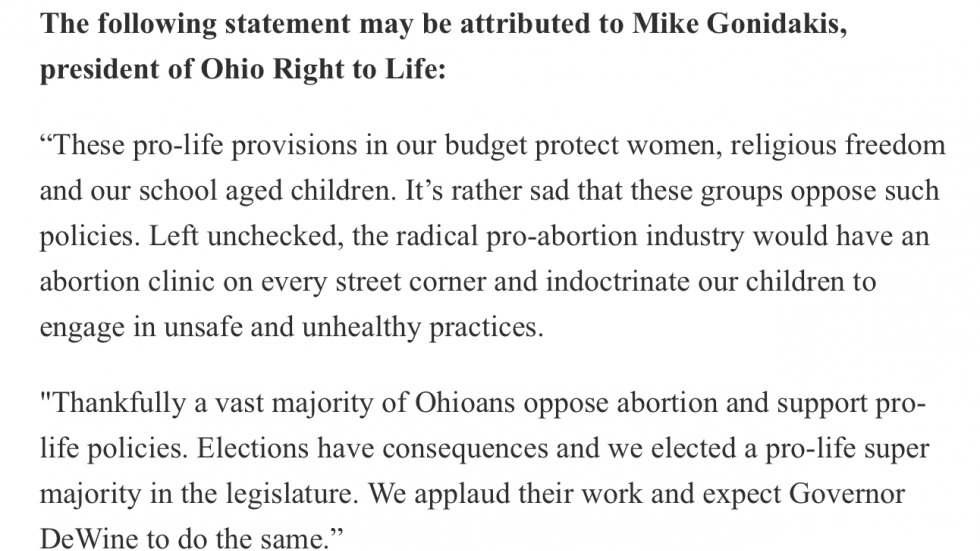 Statement on June 29, 2021 from Ohio Right to Life