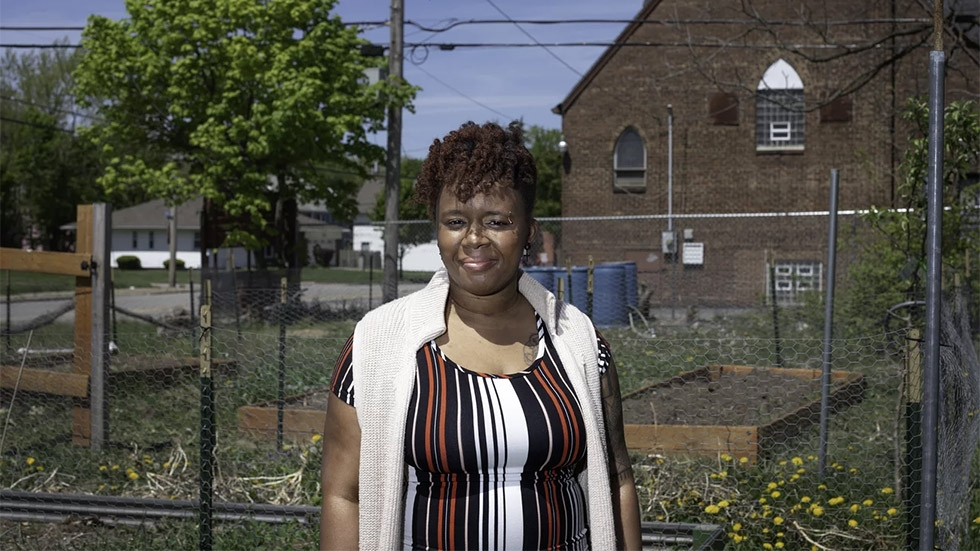 """Shirley Bell-Wheeler is bringing more trees and gardens to her Cleveland neighborhood. """"Who doesn't like being at the park, and breathe fresh air?"""" she says."""