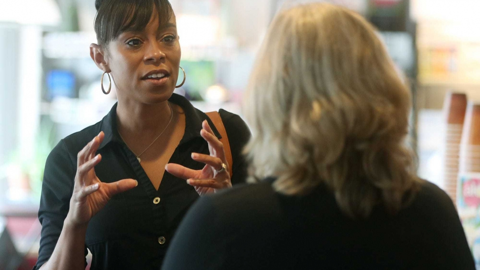 Ohio 11th district candidate Shontel Brown is seen during a campaign stop at Angel Falls Coffee shop in Akron on July 14.