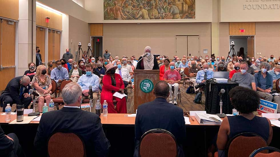 Areeqe Hammad, of Cleveland, testifies at the first public hearing of the Ohio Redistricting Commission at Cleveland State University, Monday, Aug. 23, 2021, in Cleveland.