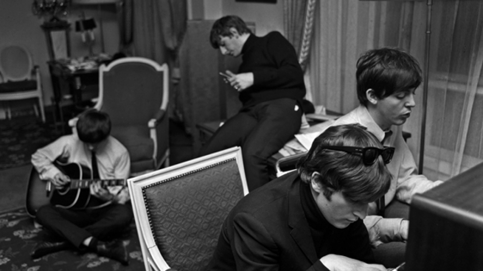 Beatles Composing, George V Hotel, Paris, 1964,  Harry Benson (B. 1929 - )