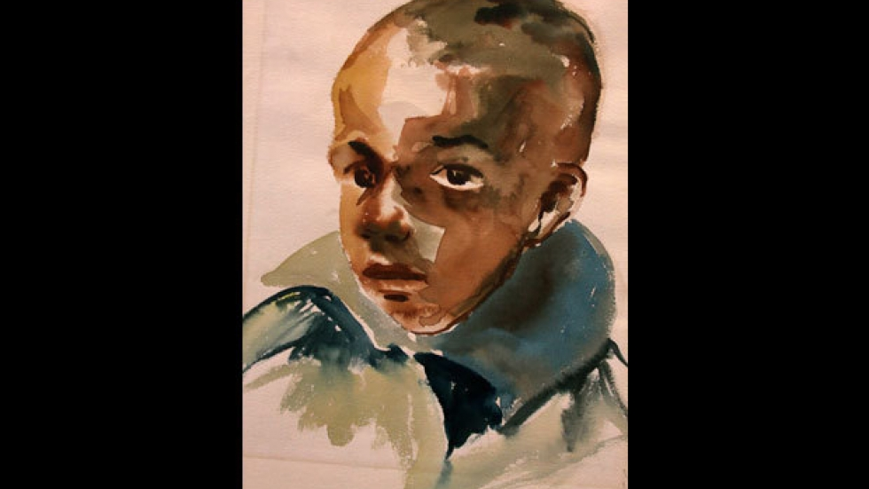 'Portrait of Boy Study' Curtis E. Tann, watercolor