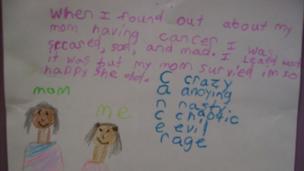 A seven year old girl's definition of cancer is depicted in this drawing.