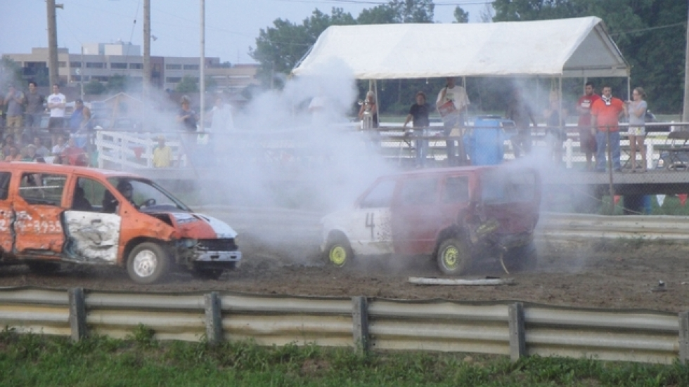 Kicking up dirt and letting off steam at the demolition derby.