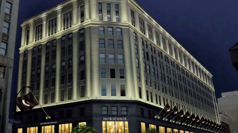 The former Higbee Building is being remodeled to house Horseshoe Casino.