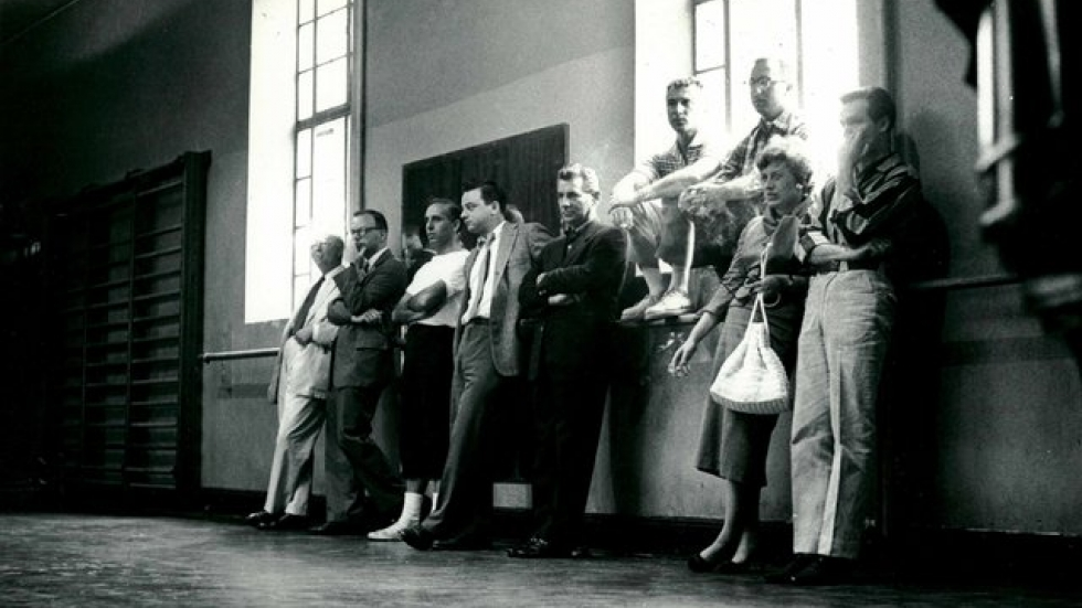 Gerald Freedman - third from right on windowsill with glasses w/ West Side Story creative team(1957)c.Martha SwopeNYT