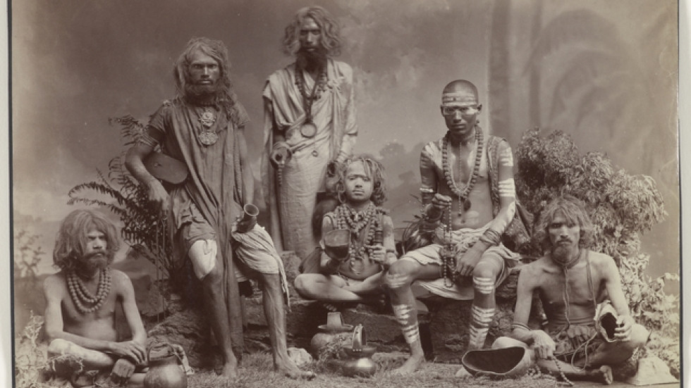 Group of Yogis, c. 1880s. Colin Murray for Bourne & Shepherd. Albumen print; 22.2 x 29.2 cm. Collection of Gloria Katz and Willard Huyck