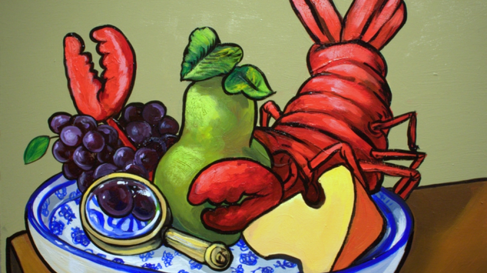 Harris Johnson, Still life with Lobster on delftware, 8/2011