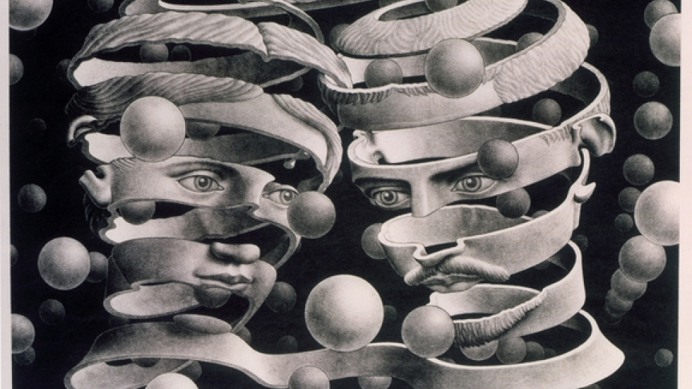 M.C. Escher, Bond of Union, 1956, Lithograph, 10 x 13 ¼ in. © the M.C. Escher Company B.V. – Baarn – the Netherl